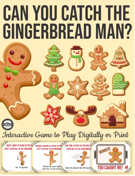 Do you need a super easy, NO PREP, Gingerbread Man game for your students? This interactive PDF is ready to go to use digitally or print to get your kids moving!