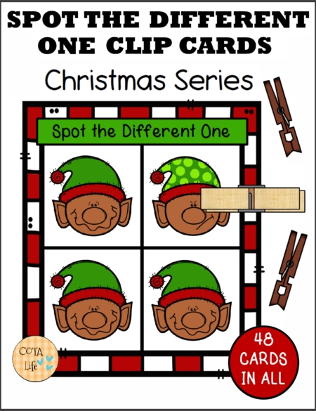 Check out this set of 48 Spot the Difference Christmas Clip Cards created byRegina Parsons-Allen, a pediatric certified Occupational Therapy Assistant.