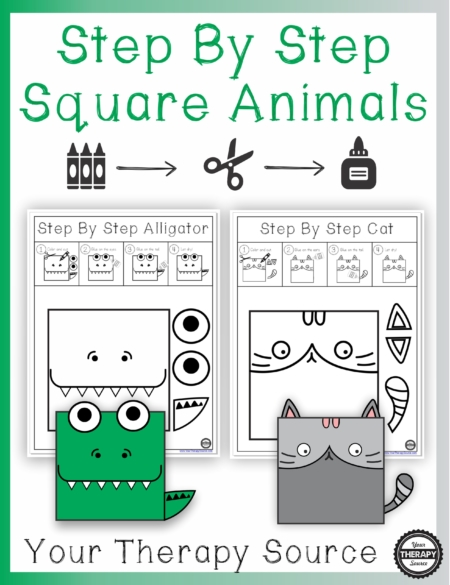 Step By Step Square Animal Projects digital download includes 10 projects to practice coloring, cutting and pasting skills.