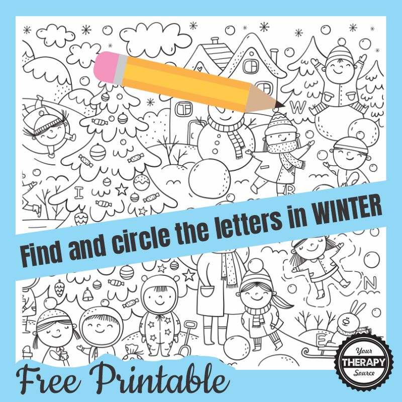 This Find and Circle the Winter Letters free printable is ready to go to see if you can find and circle the six letters in the word W-I-N-T-E-R.