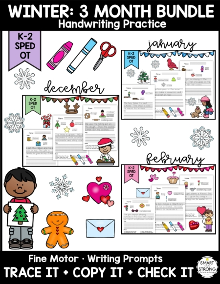 This Winter Handwriting Practice resource is no-prep resource saves you time & fun new themes each month. A seasonal handwriting activity for kids to work on developing and mastering penmanship with an easy visual cue reminder at the bottom.