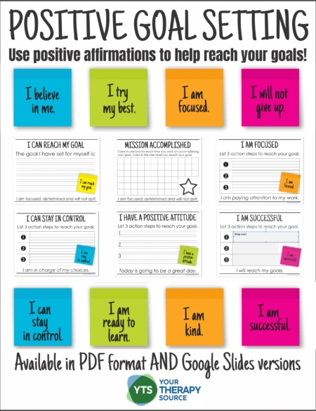 This Positive Goal Setting packet can help students (and adults) to reach their goals by using positive self talk.