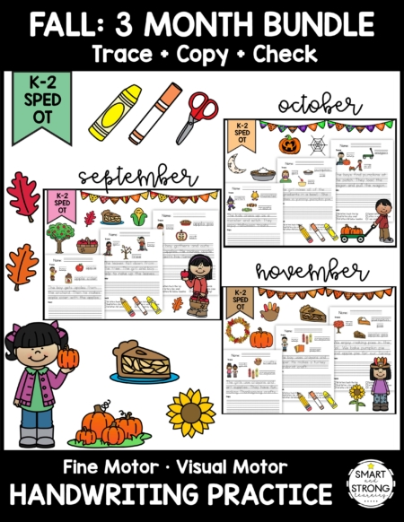 This huge collection of Fine Motor Handwriting Packets • Trace + Copy + Check • 12 Monthly Themes was created by Christine OTR from Smart and Strong Learning!
