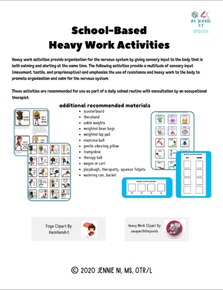 Created by Jennie Ni, MS, OTR/L, the Heavy Work Sensory Activities Packet includes activity suggestions with visuals and schedule boards.