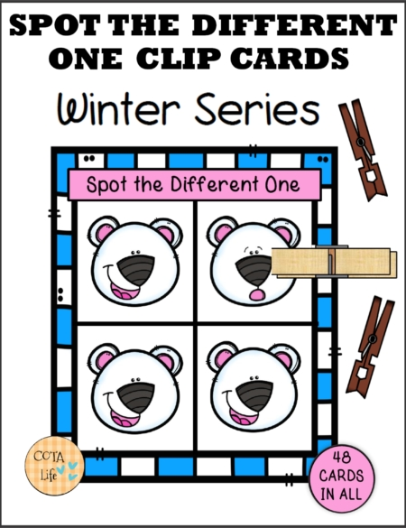 Check out this set of 48 Spot the Difference Winter Clip Cards created by Regina Parsons-Allen, a pediatric certified Occupational Therapy Assistant.