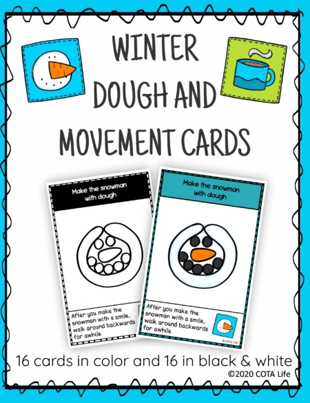 The Winter Play Dough and Movement Cards are designed for children to engage in the activity of play dough use and body movements with a FUN Winter theme.