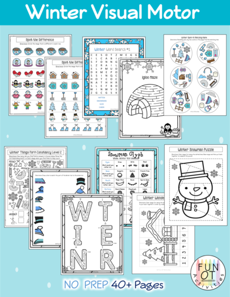This Winter Visual Motor Bundle includes no-Prep visual motor activities such as mazes, puzzles, spot the difference, spot-it game, word search, matching, crossing midline, form constancy, snowman glyph, drawing, cutting, prewriting lines and shapes, and lots more!