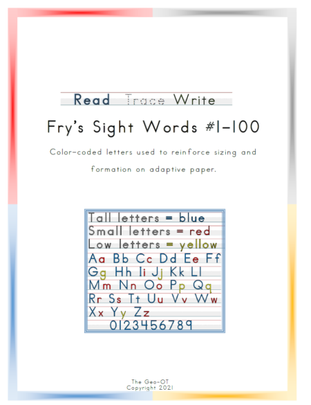 Created by Anna Long-Slade, OTR, this is an easy, inexpensive, and print-and-go option for Sight Word Handwriting Practice for the first 100 Fry Sight Words.