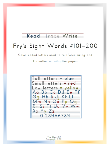 Created by Anna Long-Slade, OTR, this is an easy, inexpensive, and print-and-go option for Handwriting Sight Word Practice for the Fry Sight Words 101-200.
