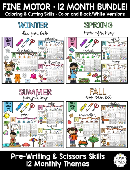 This Prewriting and Scissor Skills 12 Month Bundle is a full year of activities containing 12 months of fun kid themes!