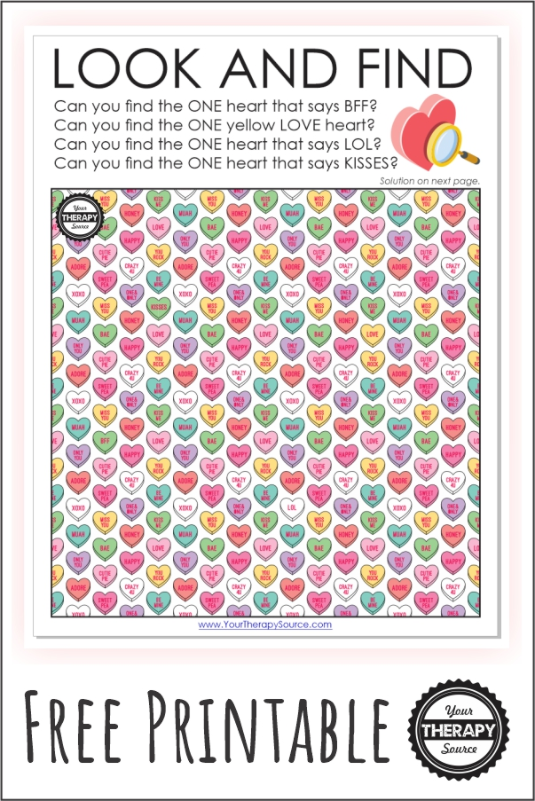 This conversation heart printable puzzle challenges your visual scanning and visual discrimination skills to see if you can find the unique hearts.