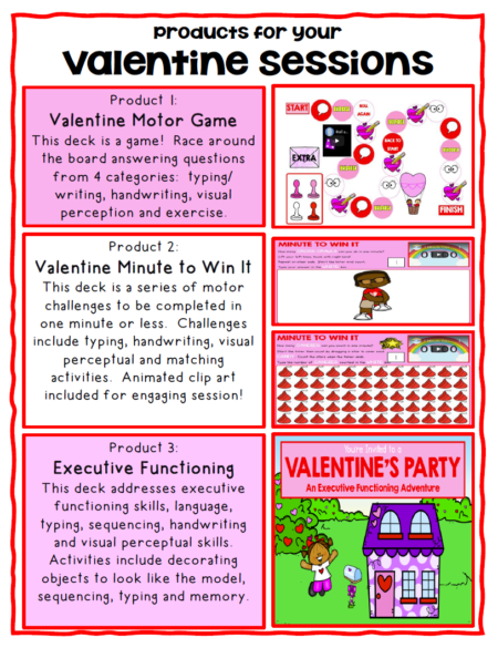 This set of Valentine Boom Cards ™ includes 3 different no print digital engaging activities to help with visual perceptual, gross motor and fine motor skills!