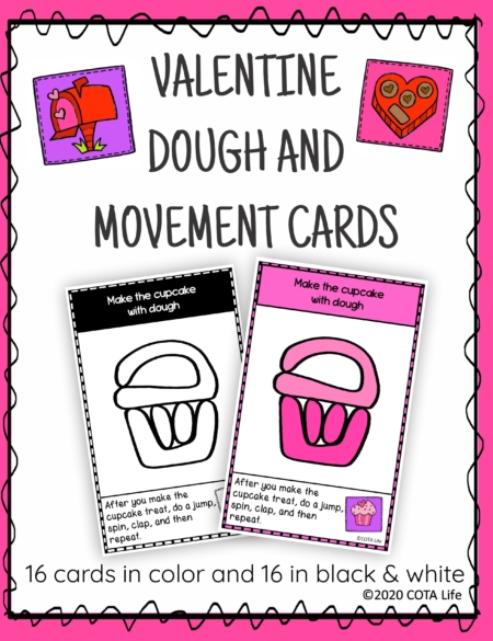 The Valentine Play Dough and Movement Cards are designed for children to engage in the activity of play dough use and body movements with a FUN Valentine theme.