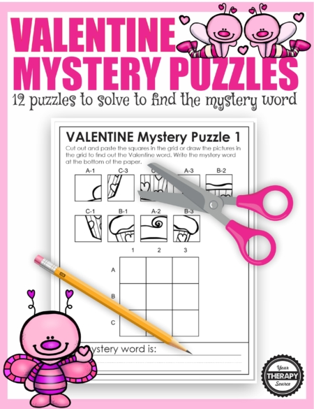 The Valentine Puzzles Printable digital download includes 12 mystery puzzles to challenge fine motor skills, visual skills, and handwriting.