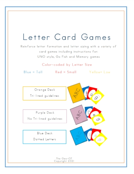 Reinforce letter formation and letter sizing with a variety of letter card games including instructions for: UNO style, Go Fish and Memory games.