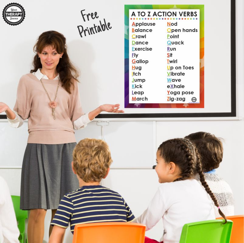 Movement and learning is critical to a student's success. Check out this A to Z Action Words FREE printable poster to hang up in your classroom.