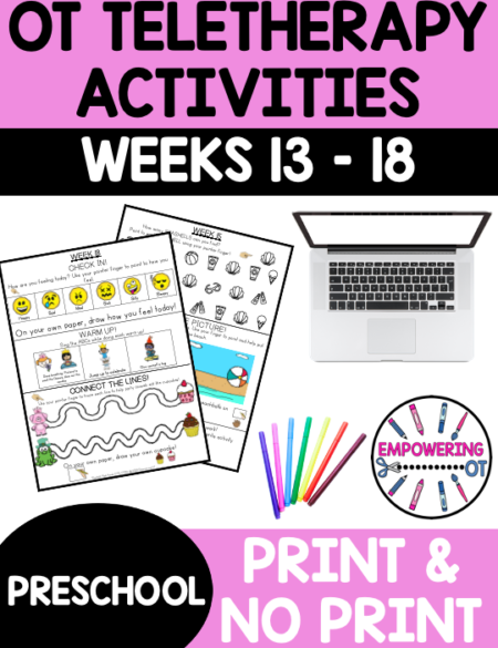 This is Preschool Occupational Therapy Weeks 13-18 for 6 WEEKS worth of distance learning fun / workbook (or even in person therapy!)