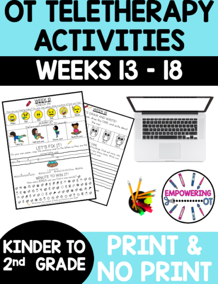 This Early Elementary Occupational Therapy Weeks 13 to 18 includes activities targeting fine motor, visual motor and visual perceptual skills!