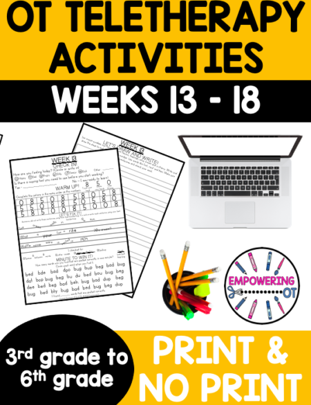 This Occupational Therapy for Older Elementary Students resource is the THIRD SET OF SIX weeks (WEEKS 13-18) worth of distance learning fun / workbook (or even in person therapy!)