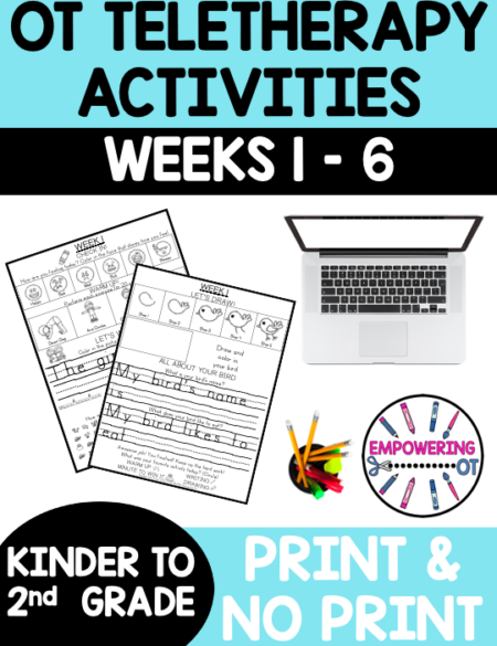 check out this packet of OT Teletherapy Activities for grades K through 2 , if you are providing teletherapy or sending weekly activity packets for your students to work on fine motor, visual motor and visual perceptual skills,