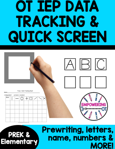 Make goal tracking on on pre-writing, uppercase alphabet, lowercase alphabet, name, and numbers EASY with this Occupational Therapy Screening and IEP Goal Tracking packet.