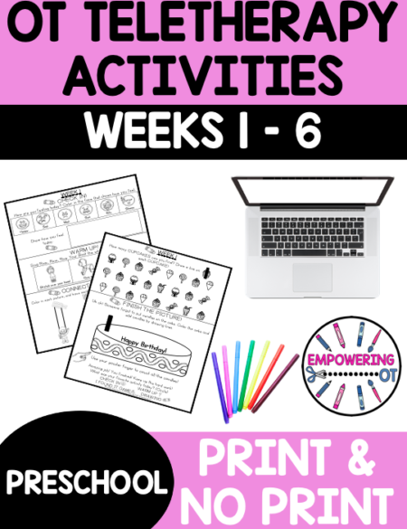Do you need virtual occupational therapy activities for your preschool students? Practice fine motor, visual motor and visual perceptual skills with this digital download