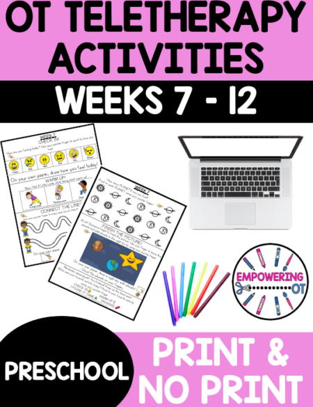 Practice fine motor, visual motor and visual perceptual skills with this Occupational Therapy Preschool Activities Set 2 weeks 7-12.