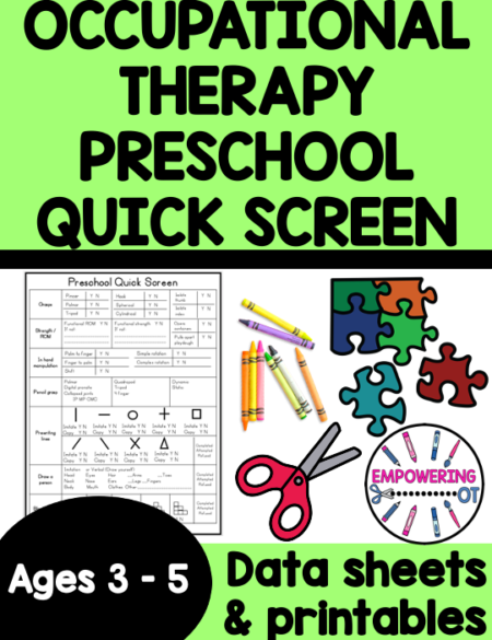 The Occupational Therapy Preschool Screening is super helpful to quickly screen preschoolers' fine motor and visual motor skills.