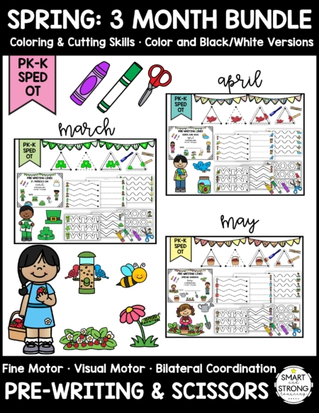 This Spring Fine Motor, Pre-Writing, and Scissor Skills bundle is a huge collection of activities containing 3 months of Spring time themes!