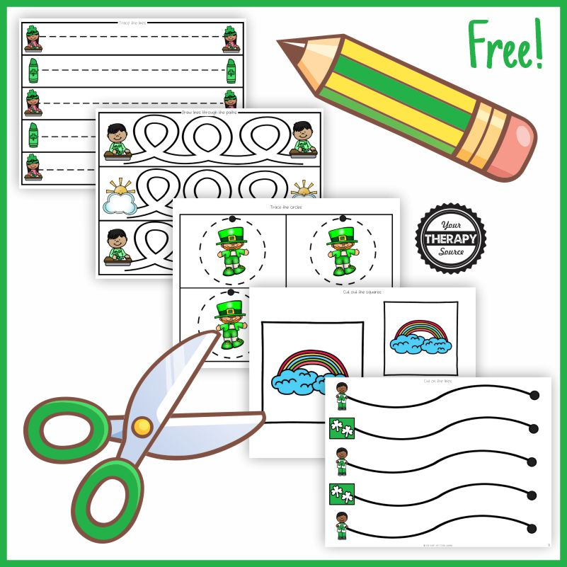 Here are ready to go PREVIEW sample pages of March Fine Motor and Pre-Writing printables created by Christine OTR.