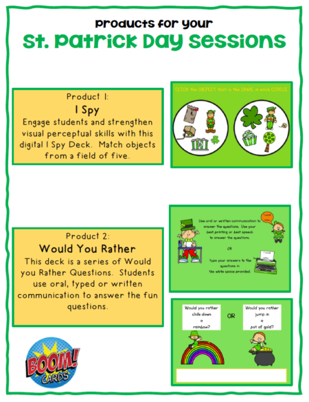 This set of St. Patrick's Day Boom Cards ™ includes 2 different no print digital engaging activities to help with visual perceptual skills and writing skills!