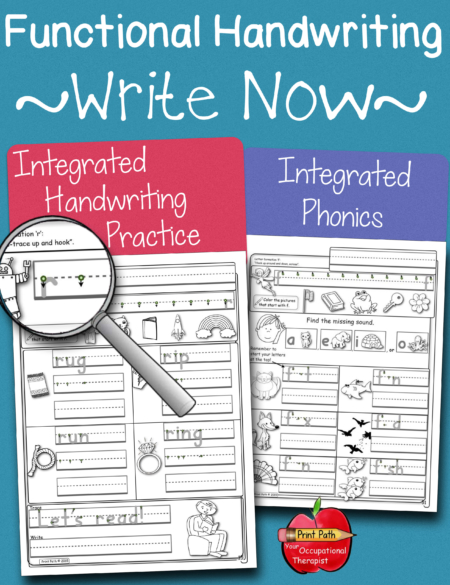 The Functional Handwriting Practice digital download integrates phonics, reading, & writing for students in grades K-1 and up.