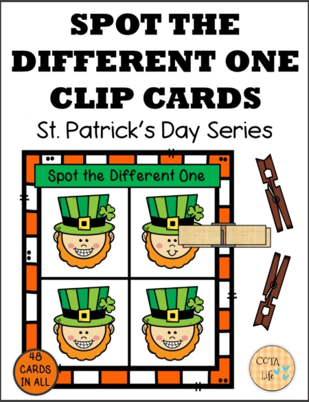 Check out this set of 48 Spot the Difference St Patrick's Day Clip Cards created by Regina Parsons-Allen, a pediatric COTA.