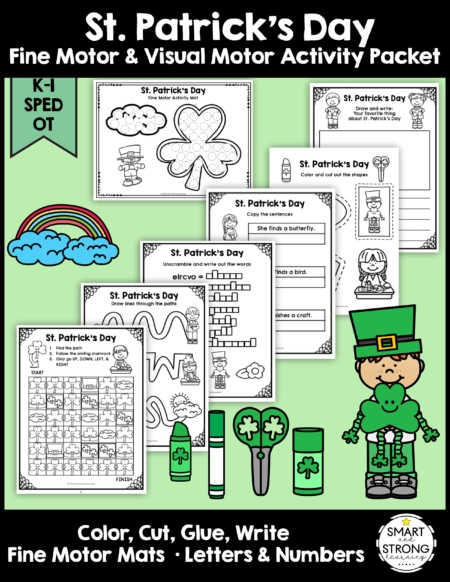 Created by Christine, OTR, this St. Patrick's Day Fine Motor Activity Packet helps students work on essential school fine motor skills.