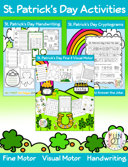 This St Patrick's Day Activities Bundle is jam-packed with activities to encourage children to practice fine motor, visual motor, bilateral hand coordination, and handwriting skills