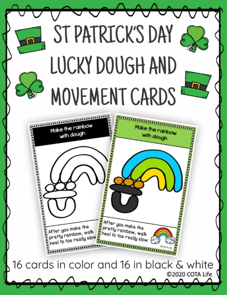 The St Patrick's Day Play Dough and Movement Cards are designed for children to engage in the activity of play dough use and body movements with a FUN St Patrick's Day theme.