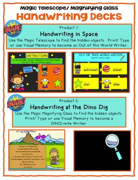 This set of Magic Handwriting Boom Cards™ includes 2 different no print digital engaging activities to help with handwriting and visual perceptual skills!
