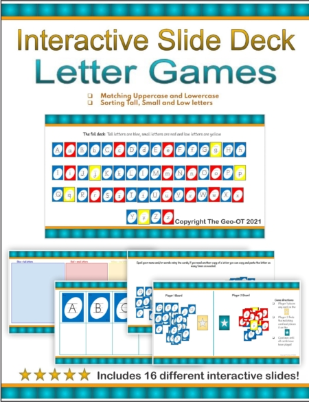 Created by Anna Long-Slade, OTR, this Letter Size Interactive Google Slide Deck will help reinforce and develop letter recognition skills in your students.