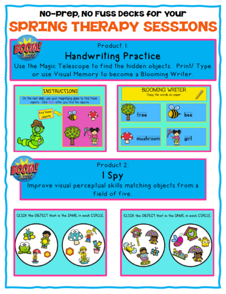 This set of Spring Handwriting Boom Cards ™  includes 2 different no print digital engaging activities to help with handwriting and visual perceptual skills!