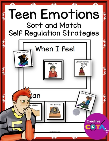 Creative by a Certified Occupational Therapy Assistant, the Teen Self-Regulation and Emotions Adapted Book, this is a teen emotion sorting activity to be used as a self-regulation strategy activity