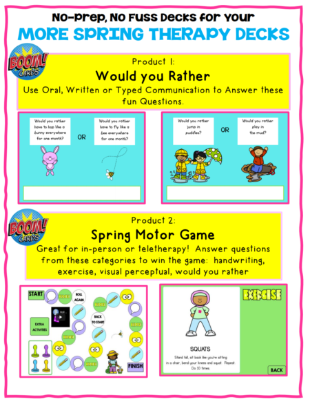This set of More Spring OT Boom Cards ™  includes 2 different no print digital engaging activities to help with handwriting, keyboarding, sensory motor, and visual perceptual skills!