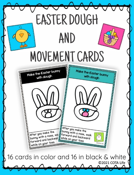 The Easter Play Dough and Movement Cards are designed for children to engage in the activity of play dough use and body movements with a FUN Easter and Spring time theme.