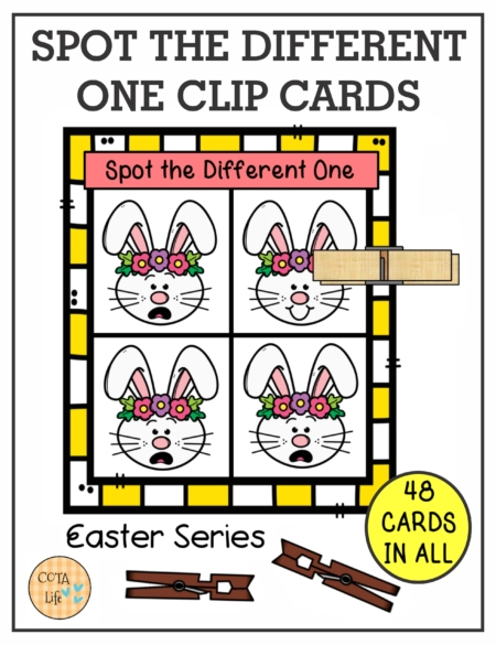 These Spot the Difference Easter Clip Cards encourage hand strengthening, visual perceptual skills and bilateral coordination.