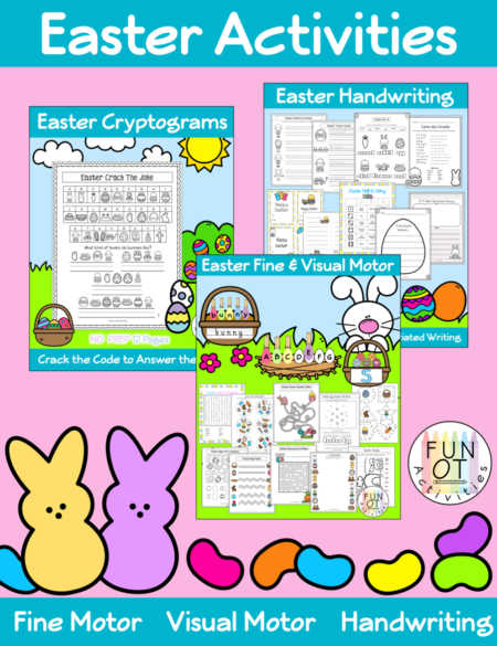 This Easter Activities Bundle encourages fine motor, visual motor, bilateral hand coordination, and handwriting skills.