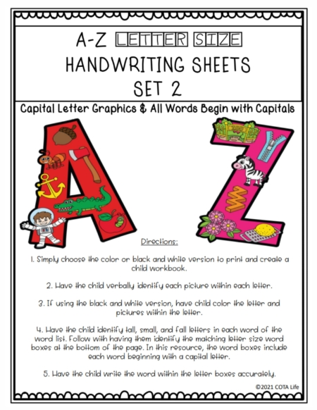 This Capital Letter Handwriting Practice Set Two reinforces the formation of tall, small, and fall letters with an emphasis on capital letters.