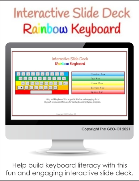 Created by Anna Long-Slade, OTR, this fun and engaging Rainbow Keyboard Google Slide Deck can help to build keyboard literacy for your students!