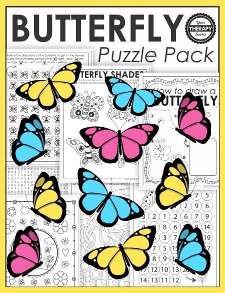 This collection of Butterfly Printable Puzzles includes 16 NO PREP, black and white butterfly themed activities. Challenge the visual perceptual and fine motor skills of your students!