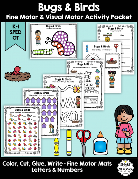 Help students work on essential school fine motor skills in a fun bugs and birds - themed way with Bugs & Birds Fine Motor Activity Packet - Color, Write, Cut, Glue!