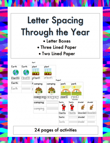 Practice letter formation, letter spacing, and letter sizing throughout the year using the colorful Letter Spacing Throughout the Year packet.