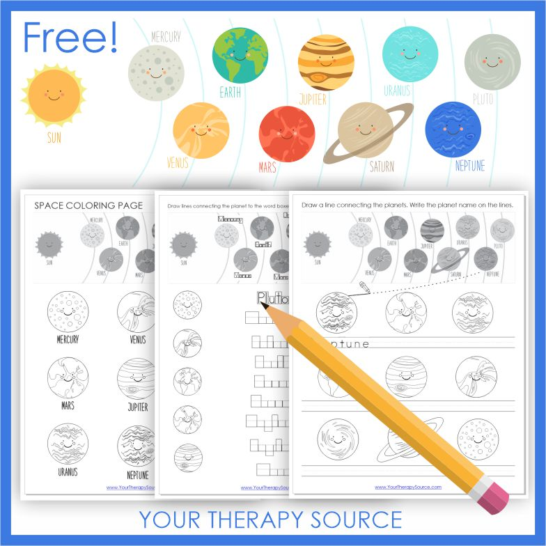 These FREE space printables ight be just what you need to practice handwriting and visual motor skills while reinforcing concepts.